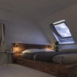 Інтер'єр спальні з точковим світильником чорного кольору