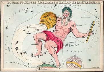 Сузір'я Водолія із «Дзеркала Уранії», набору тематичних карток опублікованих у Лондоні, бл. 1825