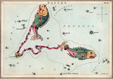 Сузір'я Риб із «Дзеркала Уранії», набору тематичних карток опублікованого в Лондоні, бл. 1825