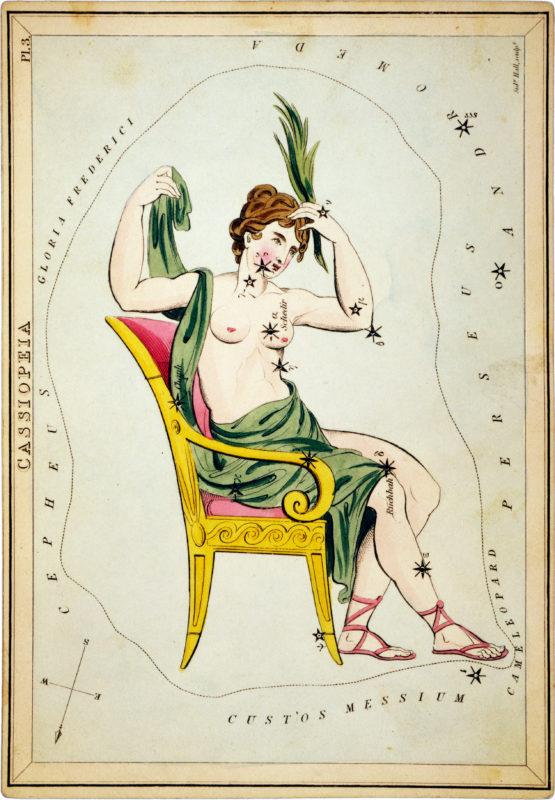 Зображення Кассіопеї із«Дзеркала Уранії», набору карток сузір'їв опублікованого у Лондоні, бл.1825