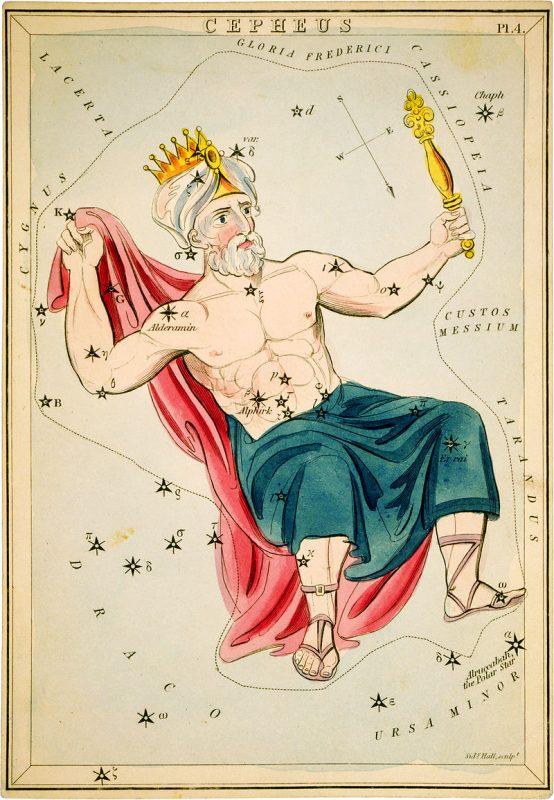 Сузір'я Цефей із «Дзеркала Уранії», набору тематичних карток опублікованого у Лондоні, бл. 1825